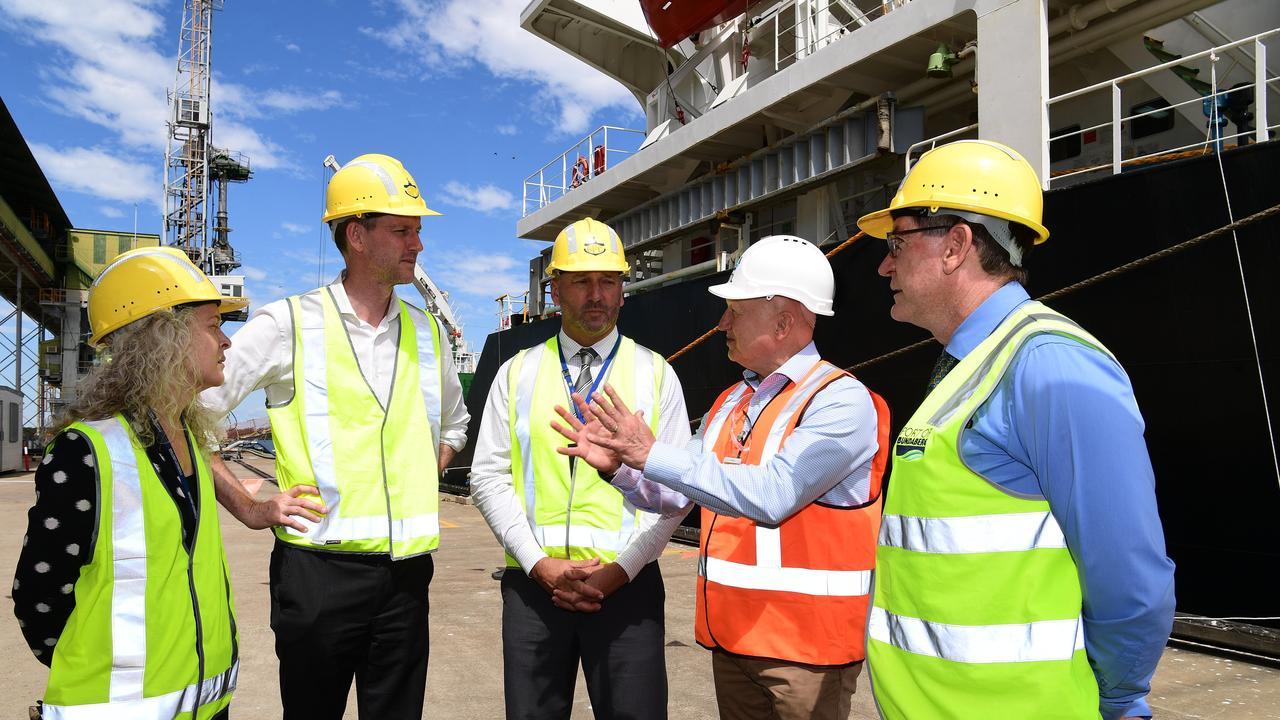 Peta Jamieson, Minister for Transport and Main Roads Mark Bailey, Gladstone Ports Corporation's acting chief executive Craig Walker, John Warda and Jason Pascoe at the Bundaberg sugar terminal.