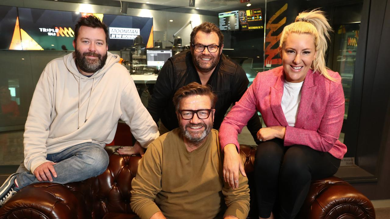 Triple M's Moonman in the Morning hosts: Chris Page, Gus Worland, Lawrence 'Moonman' Mooney and Jess Eva. Picture: John Feder/The Australian