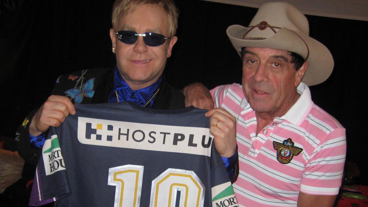 Meldrum gave Elton John a Melbourne Storm jumper.