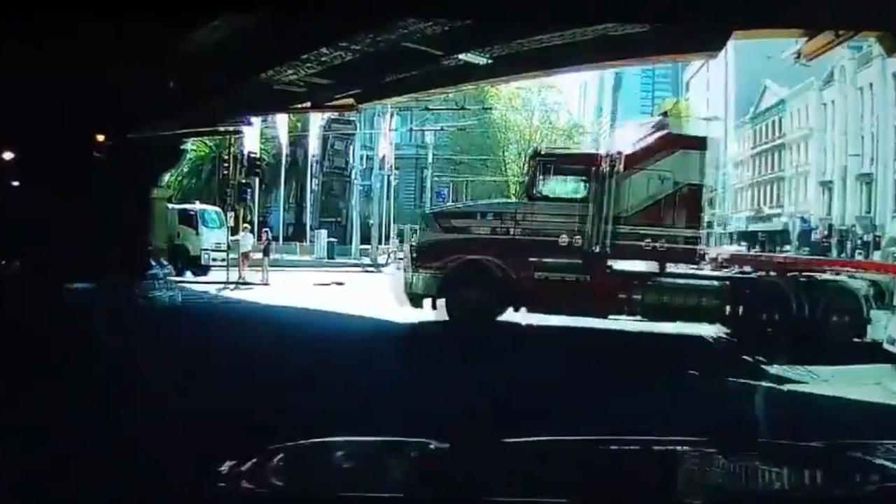 Dashcam stills of the moment before the truck crash in central Melbourne. Picture: ABC.