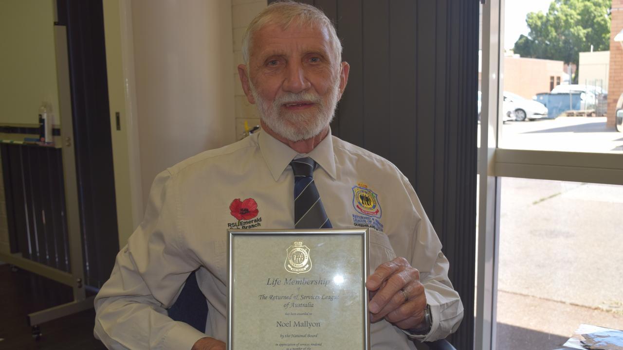LIFE MEMBER: Noel Mallyon and his certificate of RSL life membership.
