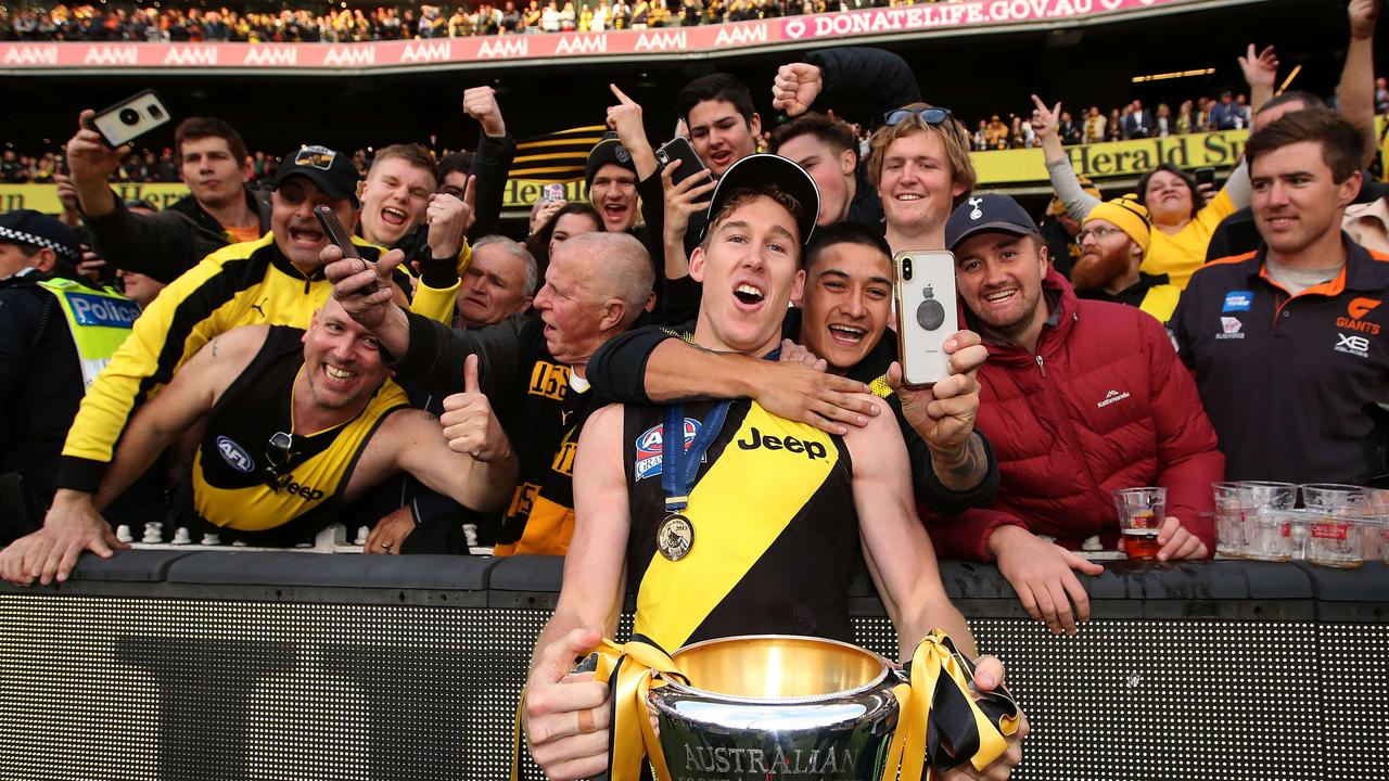 Blockbuster free agent Tom Lynch basks in Richmond's premiership glory. Picture: Phil Hillyard