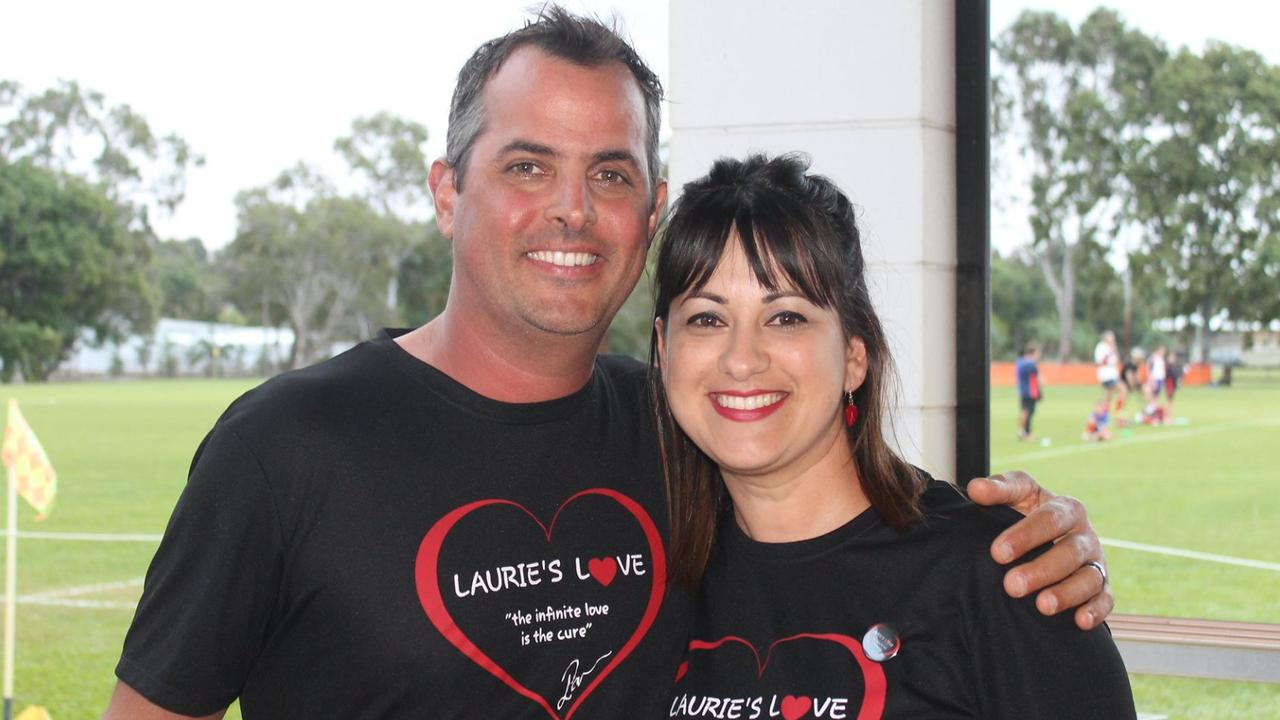 Burdekin father Laurence Pavone, 42 with his wife Julie at a fundraising event for brain cancer.