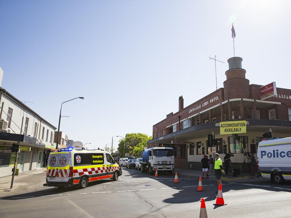Gunman, Daniel King, shot and killed outside Penrith police station overnight. Image of crime scene established at Australian Arms Hotel on High Street, Penrith. Picture: Dylan Robinson
