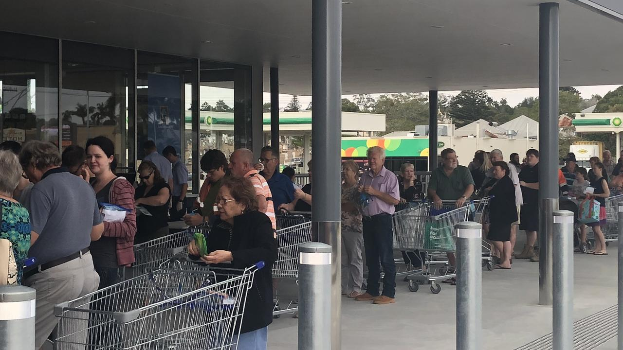 People lined up for hours for the Aldi opening. Photo: Jann Houley