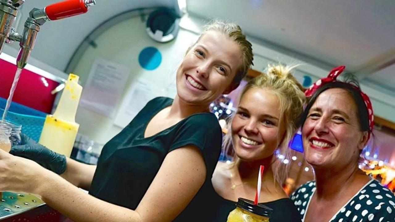 FRUITY FUN: Tracy Keats, Bianca Krigovsky, Ashleigh Meares from The Tutti Frutti Van at a previous Nights on Ocean markets event. Picture: Contributed