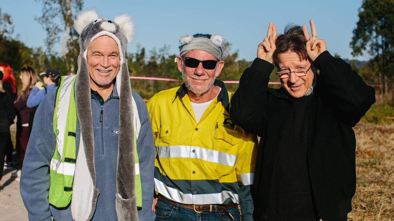 IN THEIR HABITAT: Noosa Council CEO Bret de Chastel, Noosa Landcare general manager Phillip Moran and Noosa Mayor Tony Wellington at the Noosa Koala Habitat Rehabilitation Project at Ringtail State Forest.