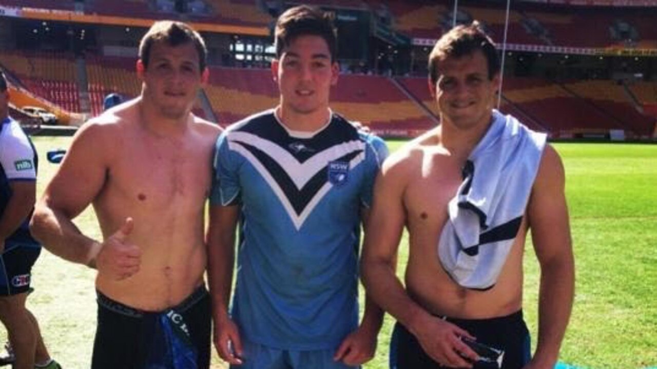 Canberra winger Nick Cotric with Brett and Josh Morris when Cotric was in NSW under 16 Origin camp.