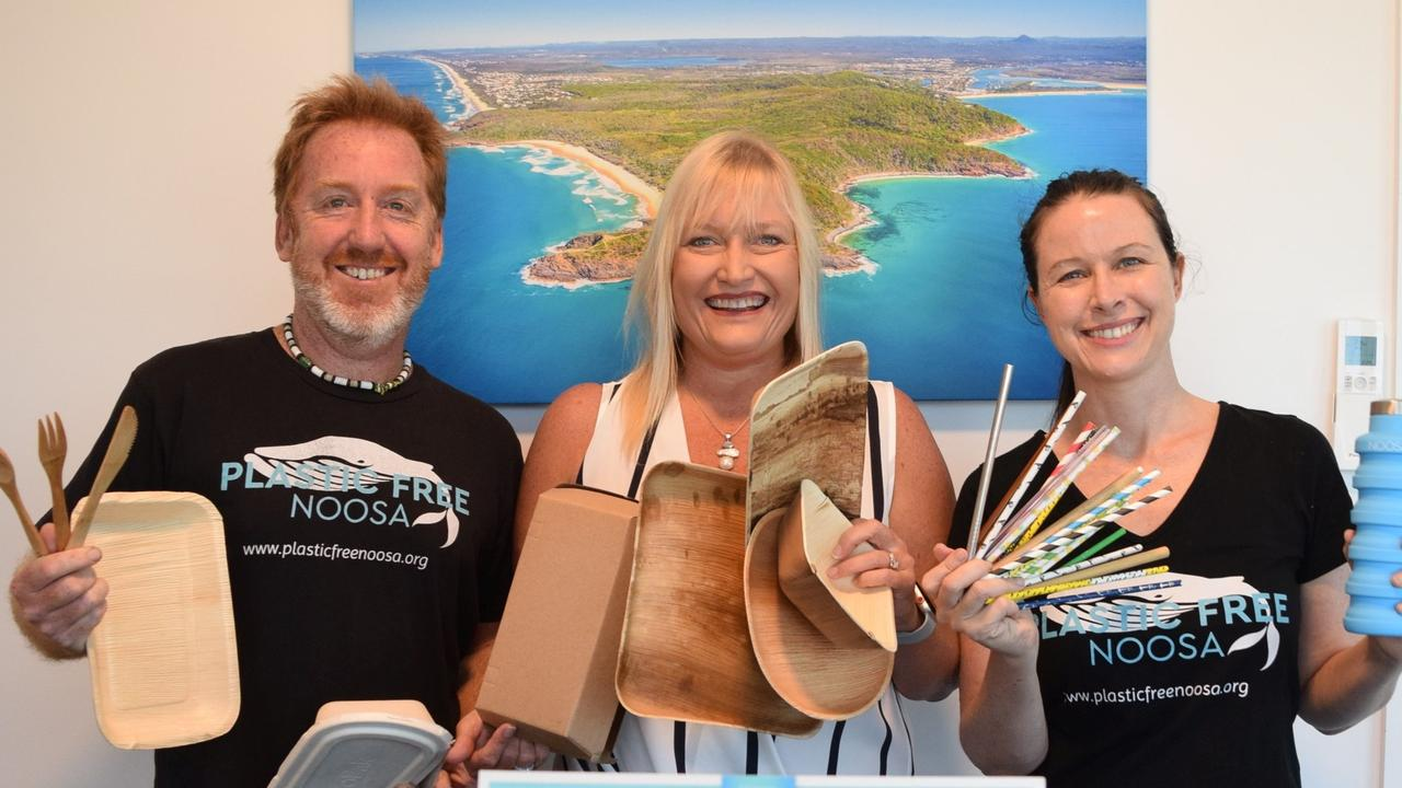 WASTE BUSTERS: Showing the way are Chad Buxton from Plastic Free Noosa, Juanita Bloomfield of Tourism Noosa with Kellie Lindsay from Plastic Free Noosa. Photo: Contributed
