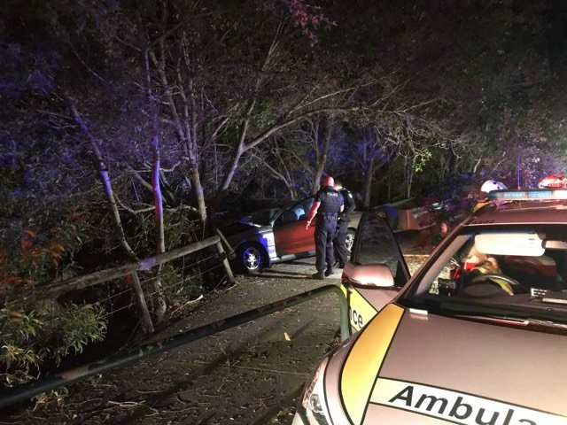A Peregian Beach man has died after his car lost control and hit a tree on David Low Way about midnight this morning. Photo: Contributed
