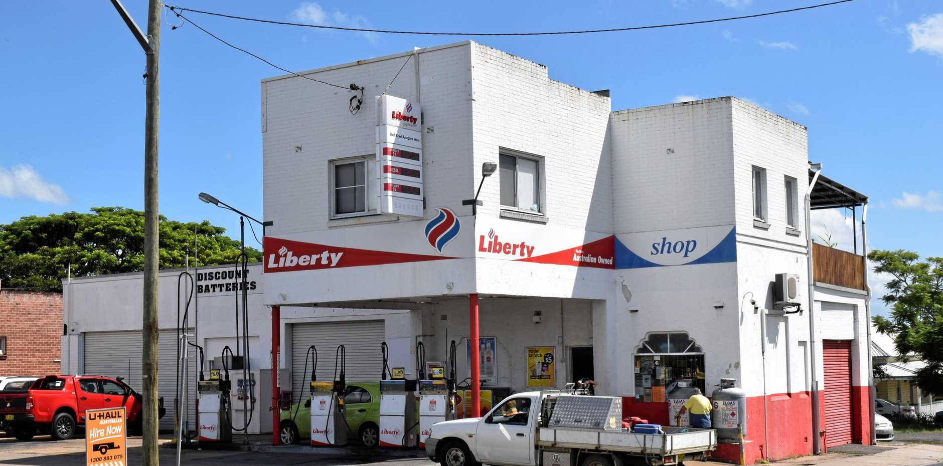 The Liberty service station on Centre St in Casino, which the men targeted in an early-morning robbery.