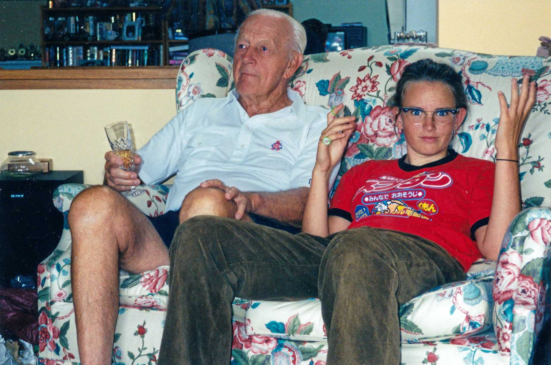 Zoe at home with her grandfather