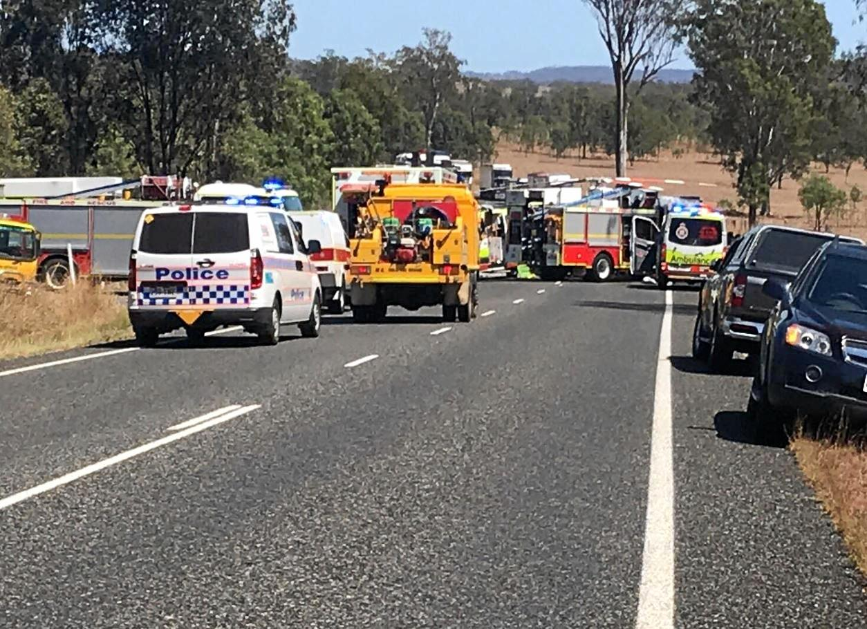 Emergency services at a serious crash at Kilkivan.