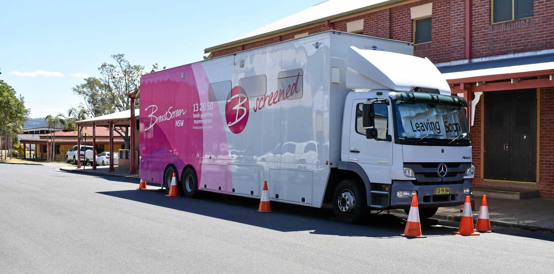 BreastScreen pink bus in Kyogle.