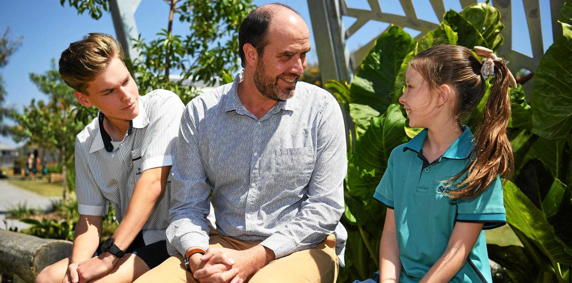 GROWING SCHOOL: Oliver Veitch, St James Luthern College Principal Luke Schoff and Jessica Owens.