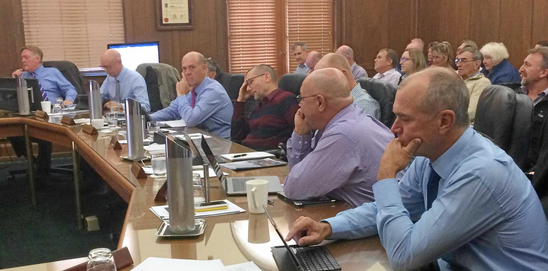 Councillors Mark McDonald, Bob Fredman, Hilary Smerdon, Mal Gear, Dan Stewart, Glen Hartwig, Daryl Dodt and Deputy Mayor Bob Leitch at the council's budget meeting.