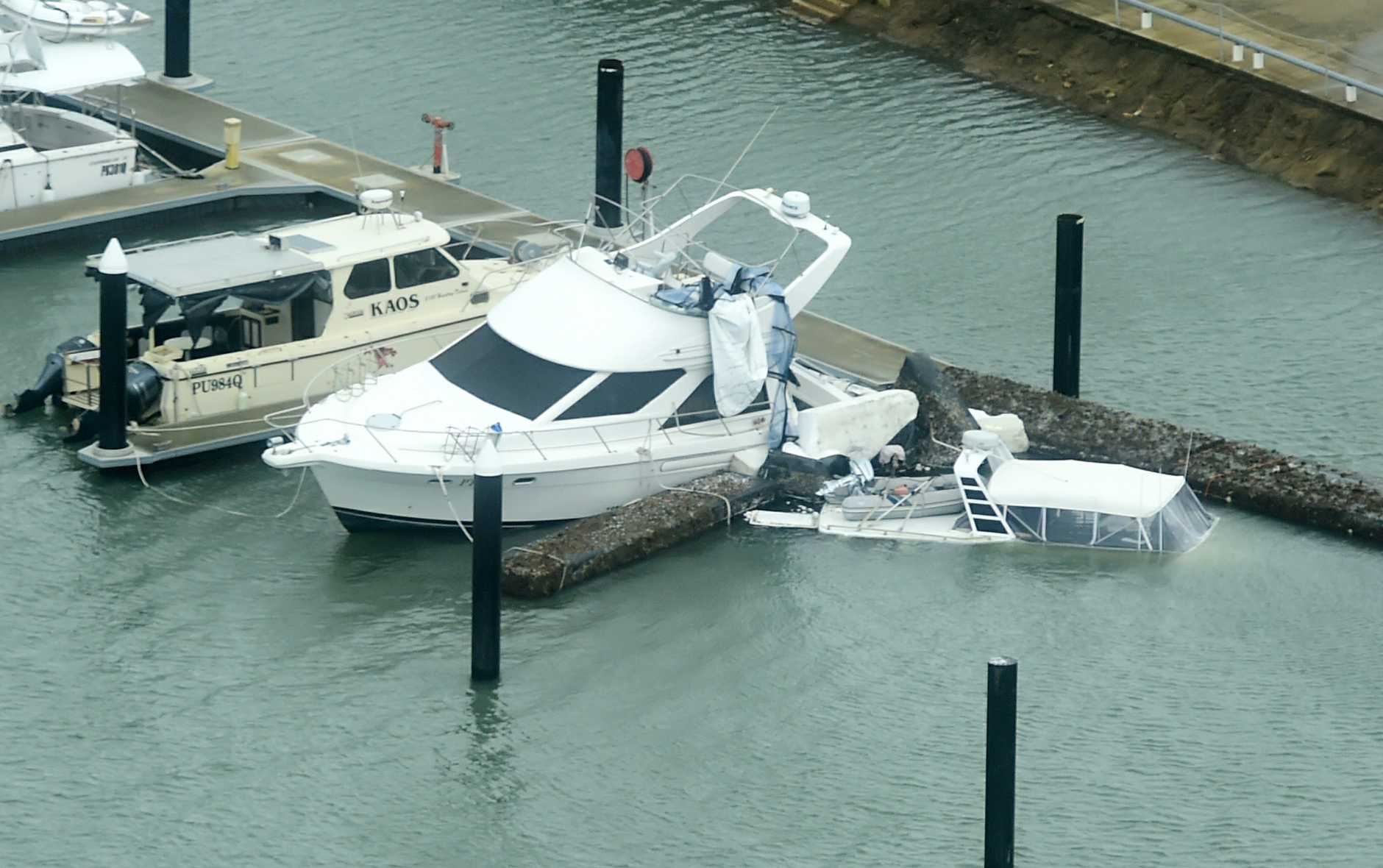 A boat sunk at the Bowen Marina caused by Tropical Cyclone Debbie.