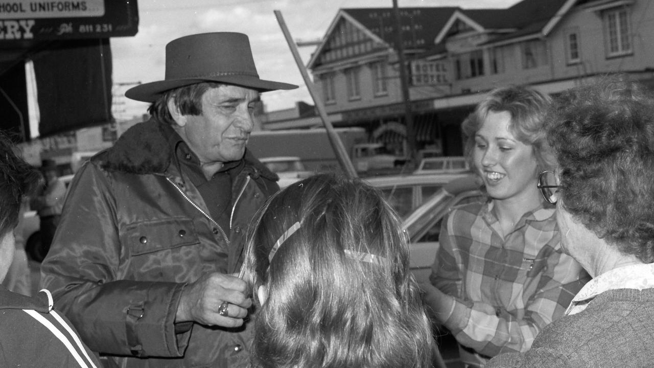 The day Johnny Cash turned up on the main street of Stanthorpe. Photographer at the time, Col Mason, snapped this now iconic image, while Border Post editor, Michael Fishpool, interviewed the famed musician.