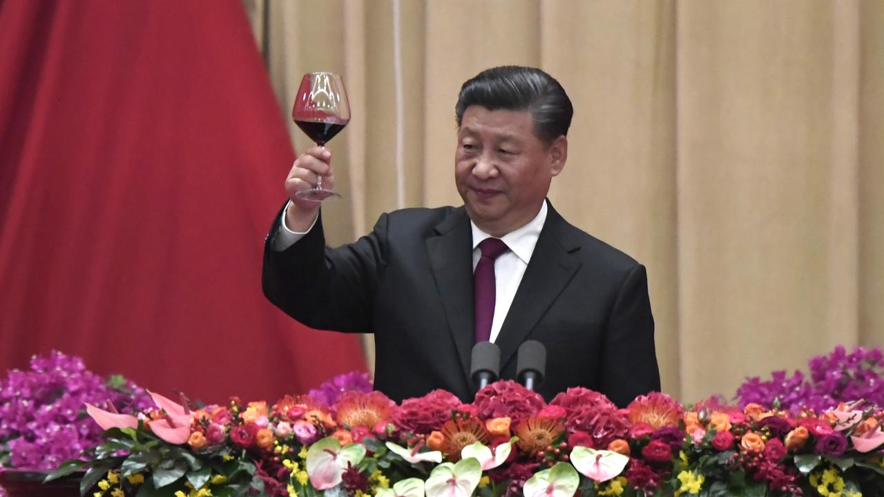 Chinese President Xi Jinping toasts guests during a banquet marking the 70th anniversary of the founding of the People's Republic of China on September 30, 2019 in Beijing, China. Picture: KYODO NEWS/Naohiko Hatta/Getty Images.