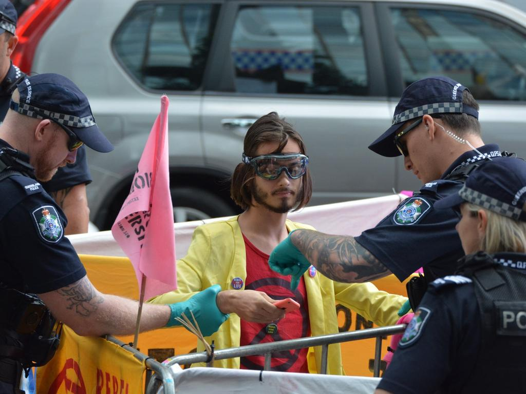 Serial climate pest Eric Herbert has been banned from entering the Brisbane CBD or using any bridges connecting to the inner-city after being arrested for illegal protesting for the seventh time. Photo Extinction Rebellion