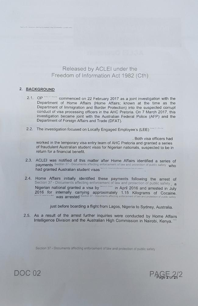 Documents released under Freedom of Information from the law enforcement watchdog the Australian Commission for law Enforcement Integrity (ACLEI) revealed the student visas were being used by drug smugglers. Picture: Supplied