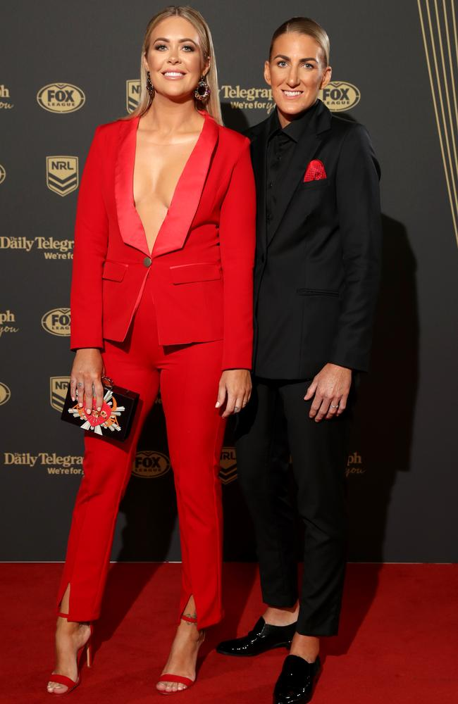 Ali Brigginshaw and partner Kate Daly on the red carpet of the 2019 Dally M Awards in Sydney on Wednesday. Picture: Jonathan Ng
