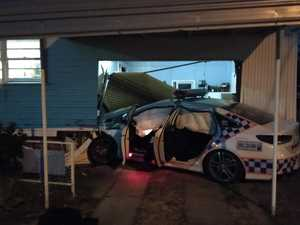 Cop car crashes into North Mackay home
