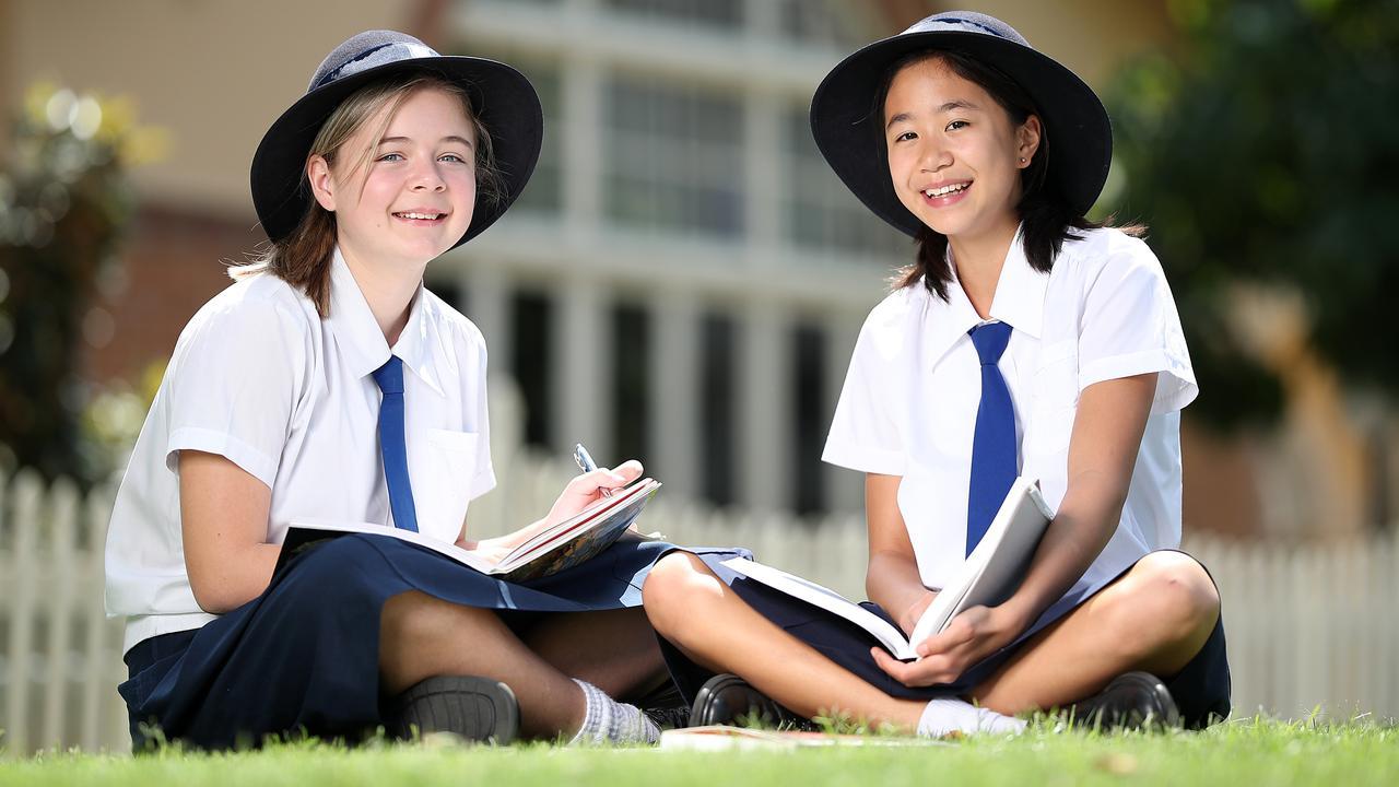 Brisbane Girls Grammar School students Lily Smith 13 and Olivia Choo 12. Photo: Peter Wallis