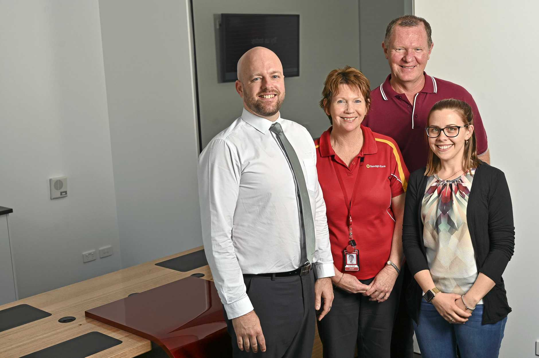NEW HOME: Bendigo Bank is moving its branch from the mall to a new premises on Tower Central on Brisbane St. Branch manager Michael Anderson with staff Coral Staatz, Brad Berlin and Bernadette Beahan.