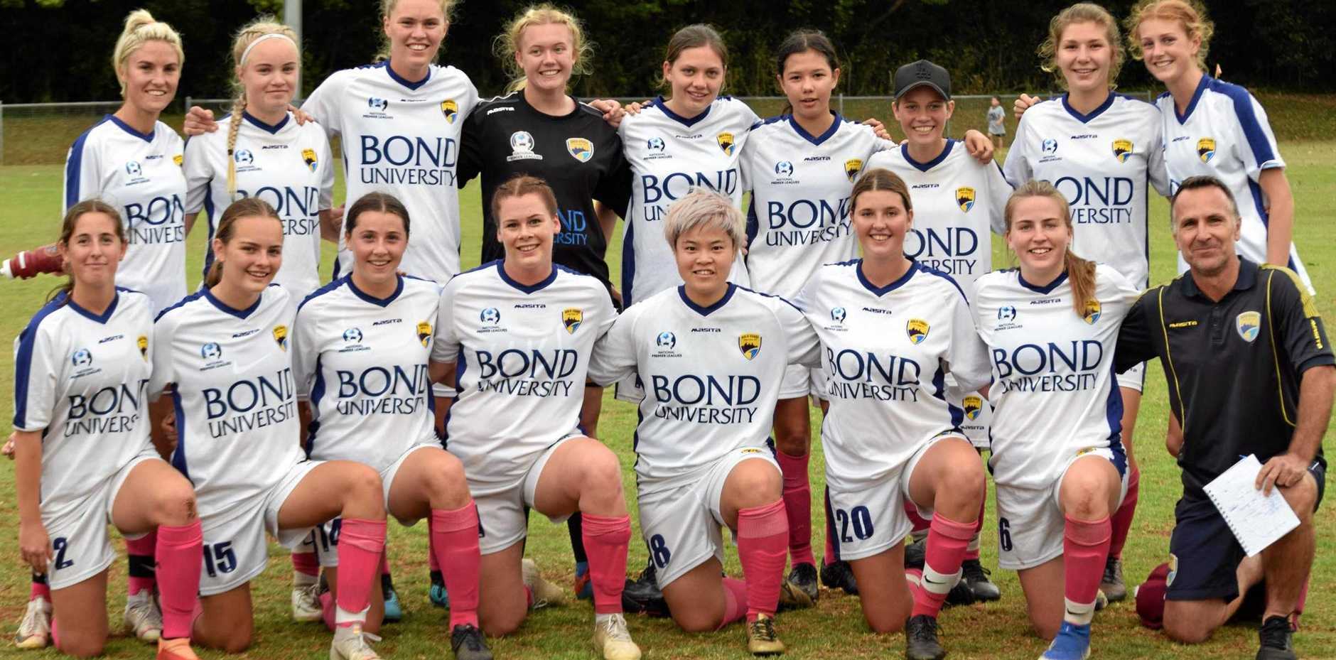STRONG BOND: The Gold Coast United team played in the Oceania Cup soccer carnival at Alstonville.
