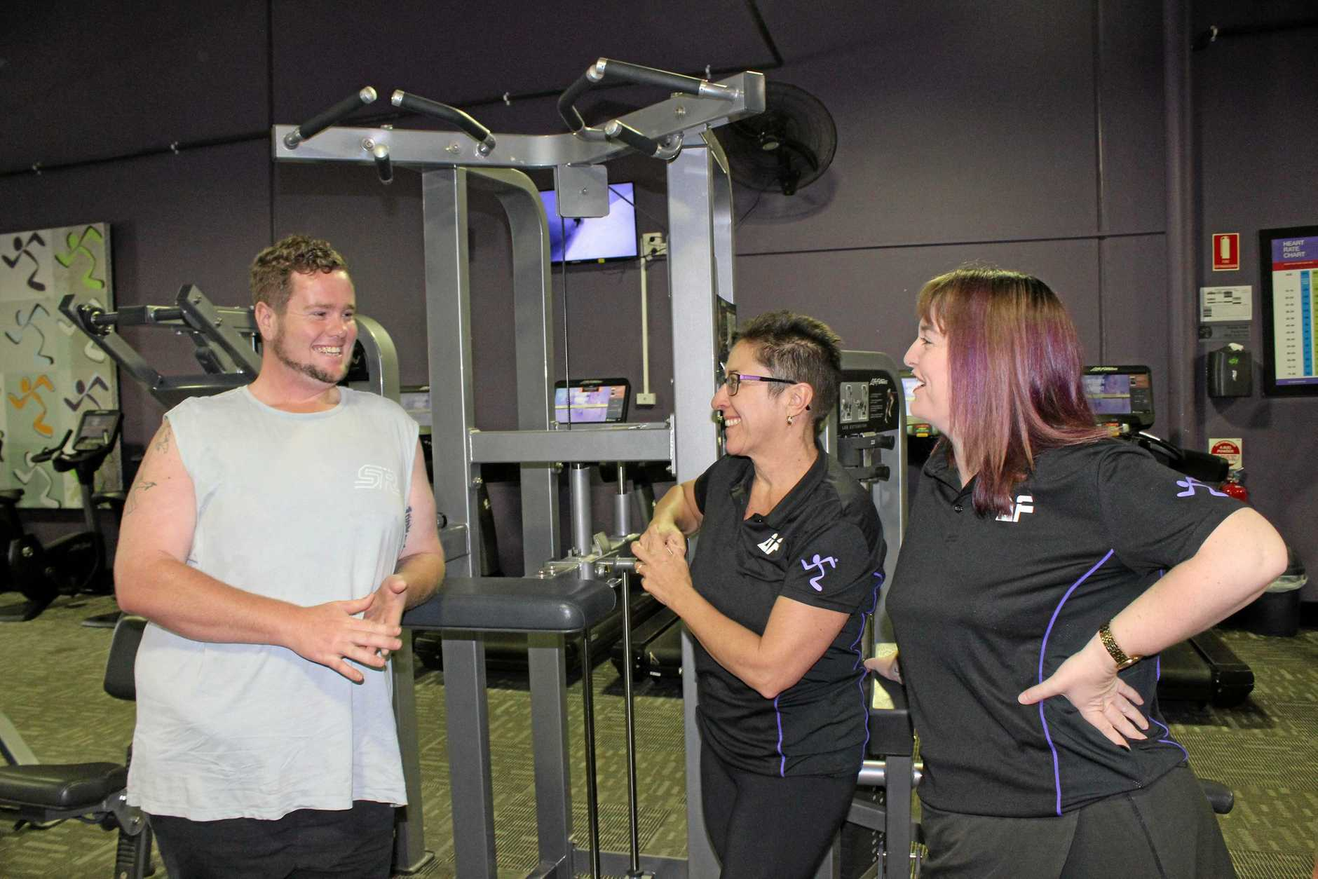 BIG CHANGES: Ben Blacksell has turned his life around with the help of Jenny Ryder and Kathryn Langford and Anytime Fitness.