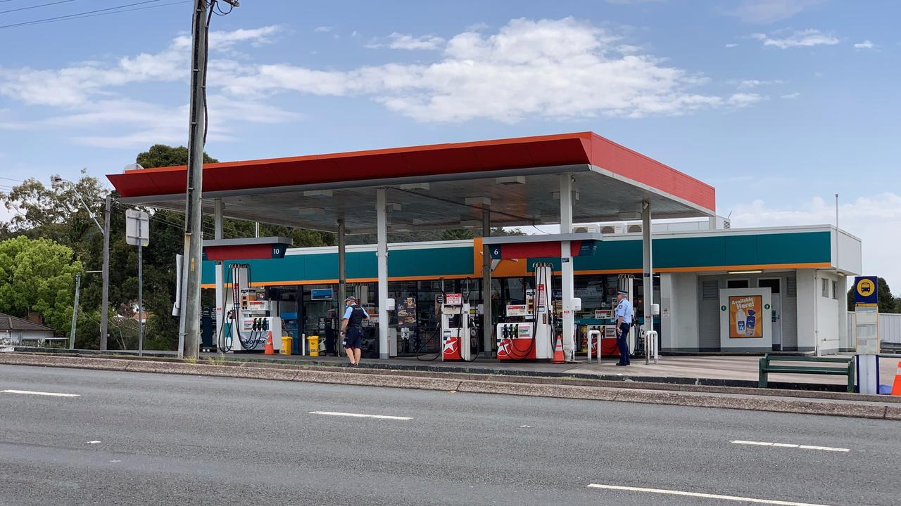 Police were called to the service station just before 1pm on Sunday. Picture: Peter Lorimer