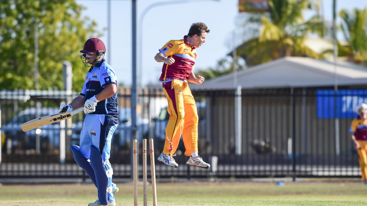 Central Queenslands Sam Lowry celebrates the bowling of Darling Downs Cameron Brimblecombe.