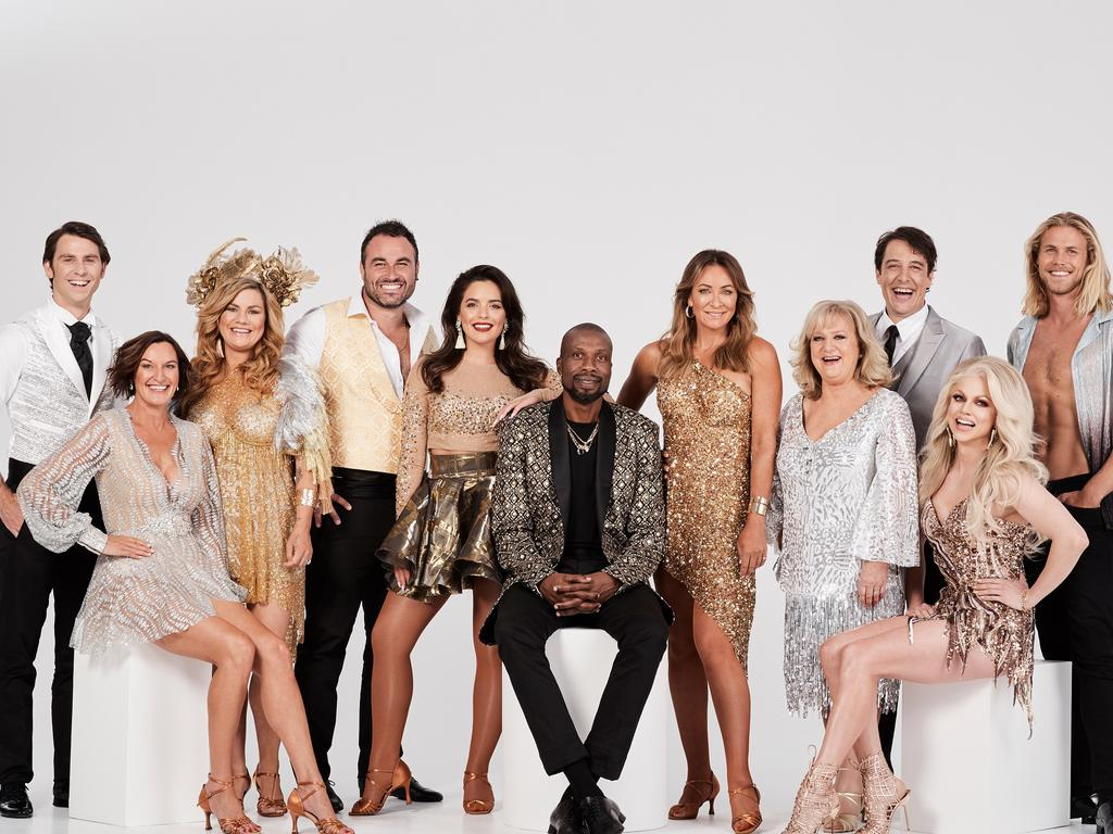 Dancing With The Stars 2019 full cast — Jimmy Rees, Cassandra Thorburn, Constance Hall, Miguel Maestre, Olympia Valance, Curtly Ambrose, Michelle Bridges, Denise Scott, Samuel Johnson, Courtney Act and Jett Kenney. Supplied by Network 10