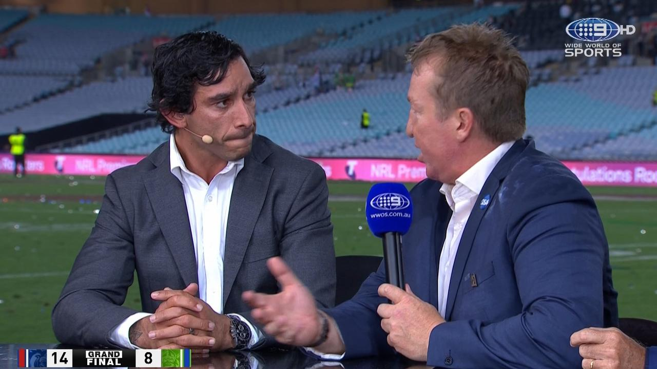 Johnathan Thurston and Trent Robinson clashed over the controversial six again call that led to the match winning try.