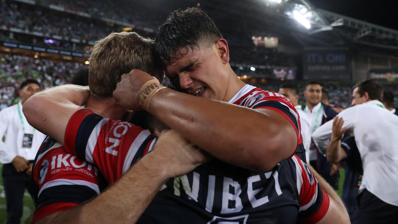 Latrell Mitchell celebrates victory after the match. Picture: Brett Costello