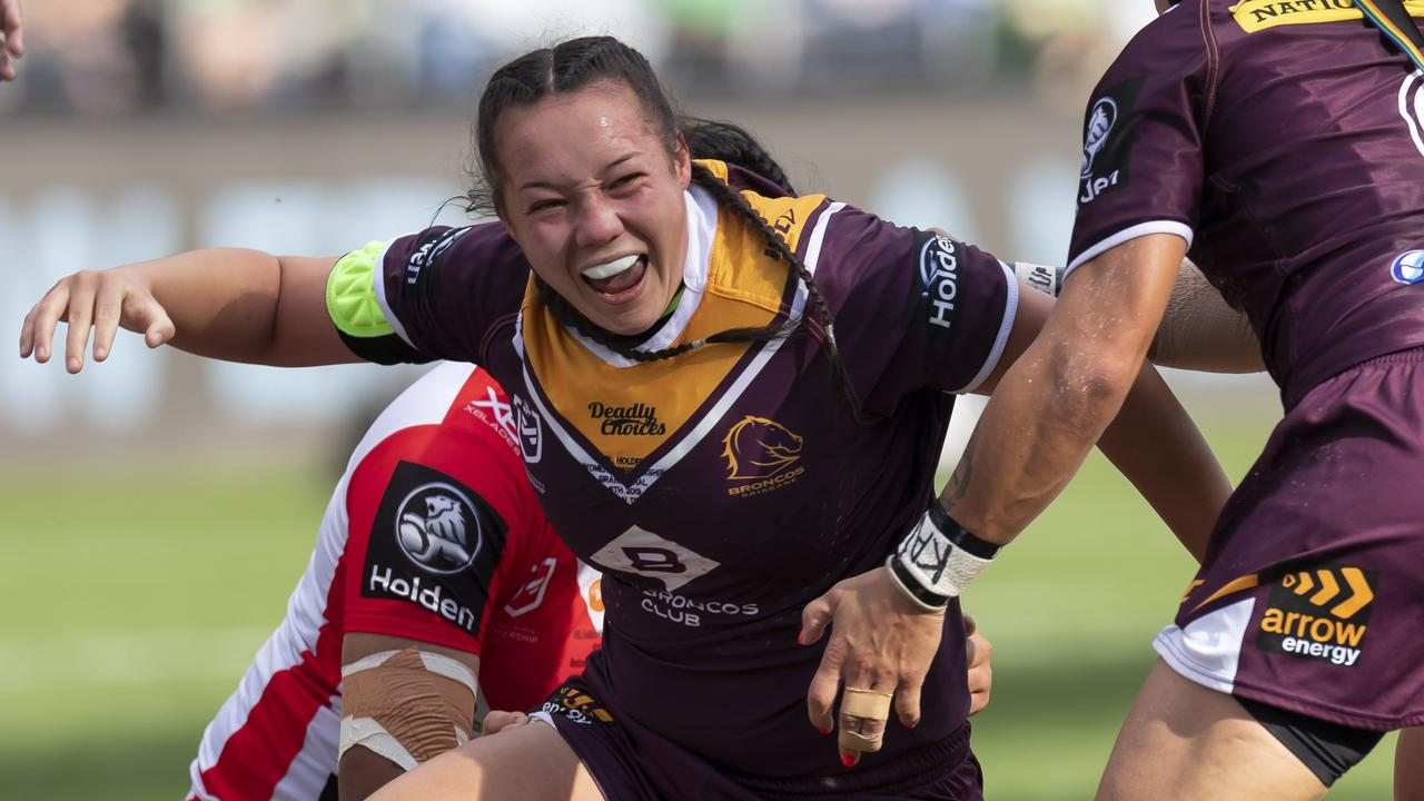 Raecene Mcgregor of the Broncos scores a try. Picture: AAP Image/Craig Golding