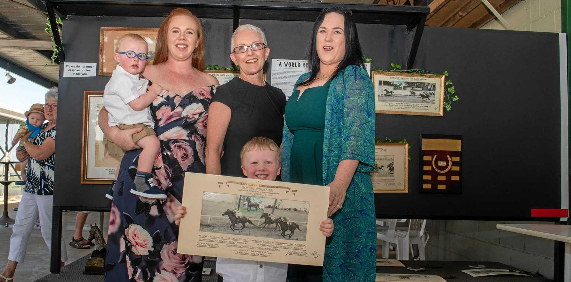 FAMILY: Four generations of Hec Freeman - Hudson and Michaela Rayner, Marilyn Robinson, Parker Rayner and Tamara Robinson. INSET: Race winner Miracle Star, for trainer Patrick Sexton.