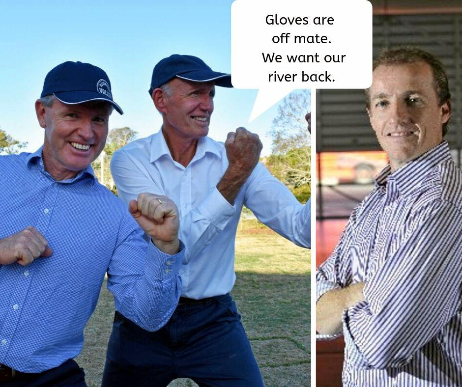 Richmond Valley Council's general manger Vaughan Macdonald and mayor Robert Mustow want to win back the Richmond River in the Council Challenge against Lismore City Council's mayor Isaac Smith and staff at the Woodburn Riverside Festival.