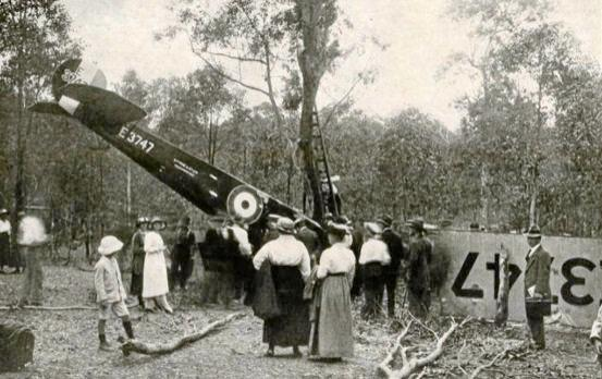 The wreckage of the Peace Loan Aeroplane which crashed in Gympie on September 17, 1919.