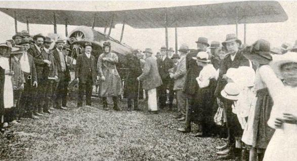 The Peace Loan Aeroplane after it landed at Nambour. It crashed while trying to take off from Gympie later that same day on September 17, 1919.
