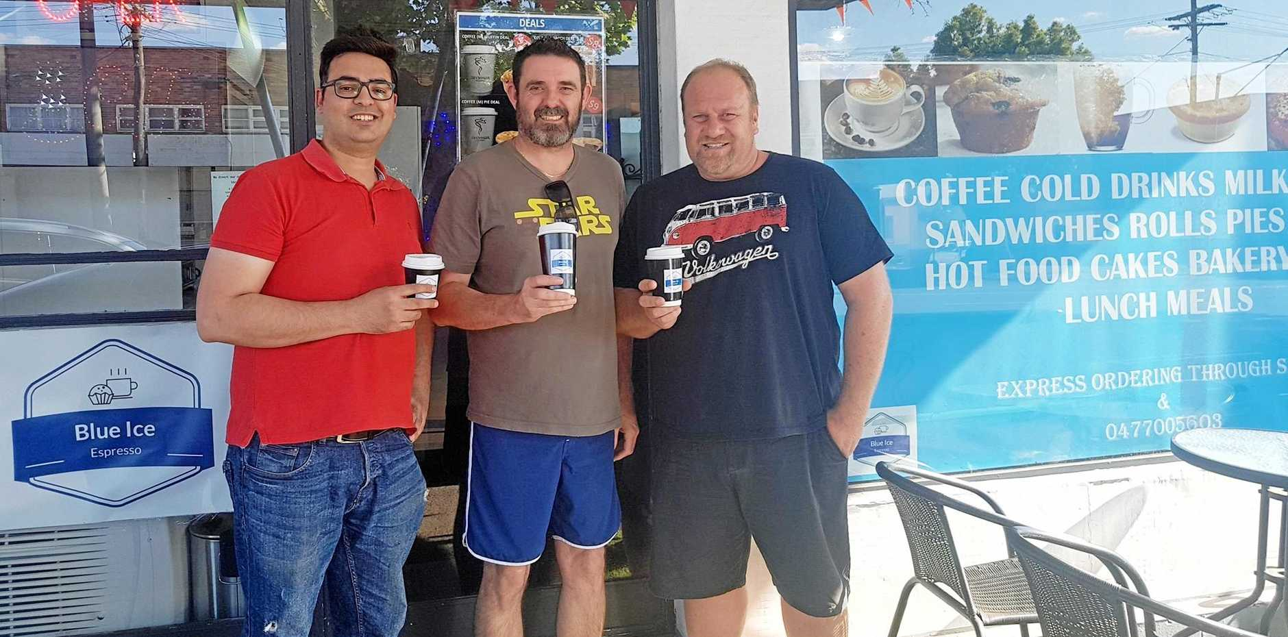 CAFFINE HIT: Former Blue Ice Espresso owner Kashif Ali with new owners Scott Ashton and Jason Robinson. They take over the store today.
