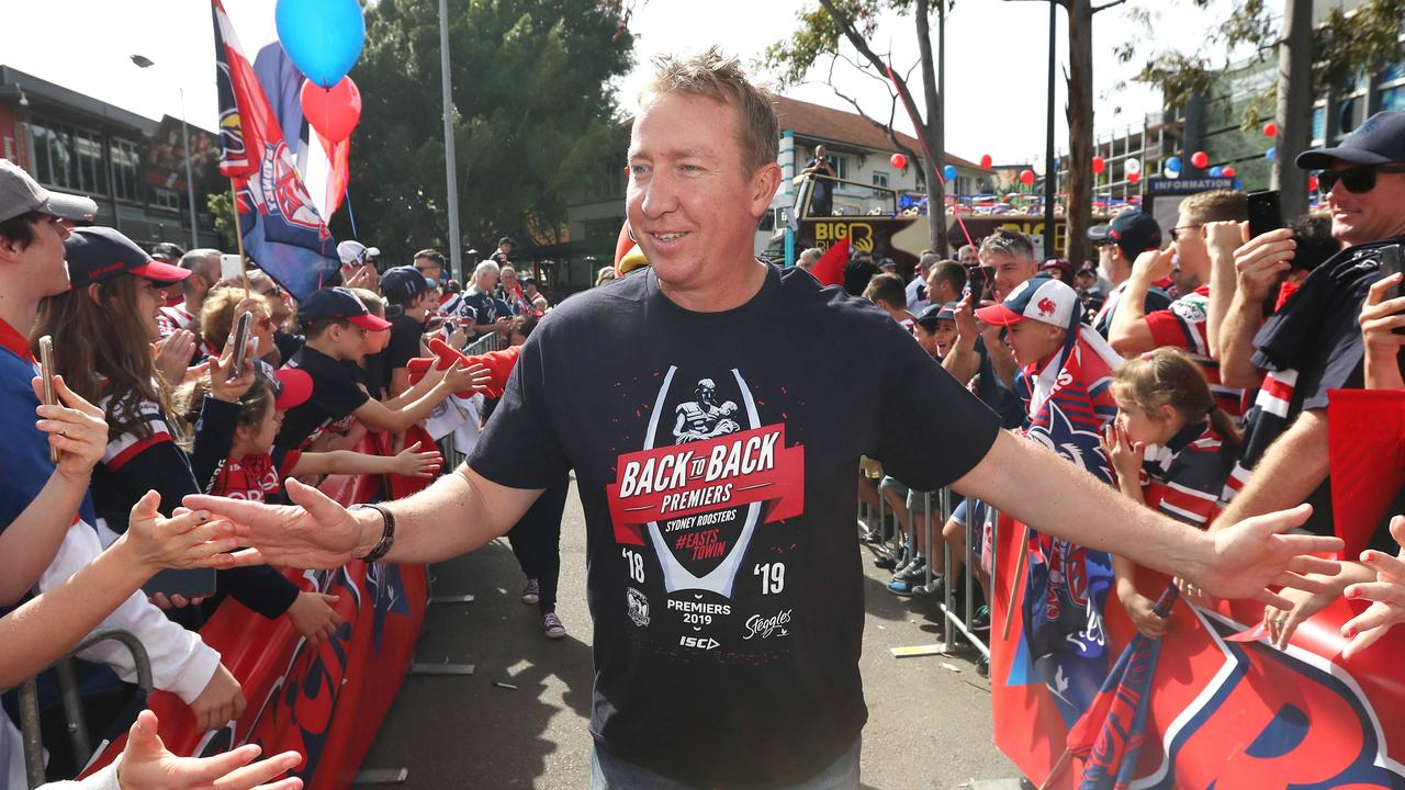 Roosters coach Trent Robinson pictured at the Sydney Roosters fan morning at Moore Park after the Roosters win in the 2019 NRL Grand Final. Picture: Richard Dobson