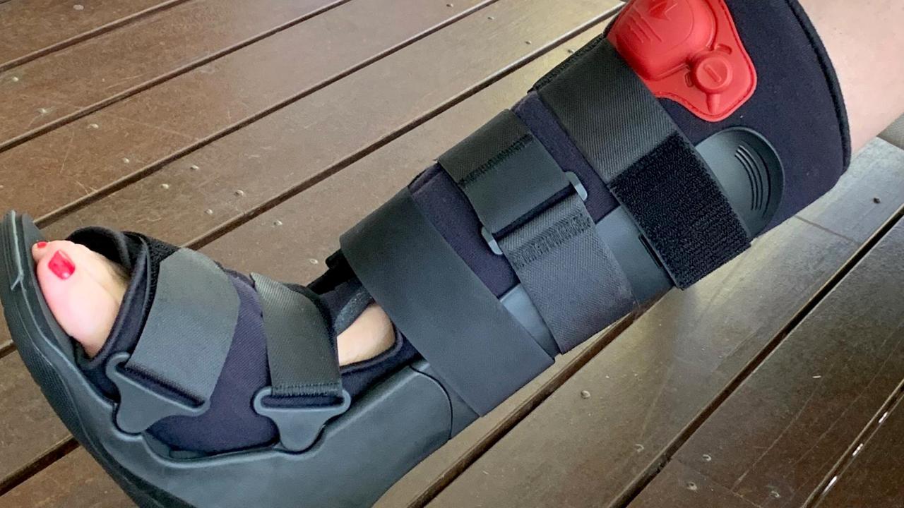 Queensland Premier Annastacia Palaszczuk with her broken foot.