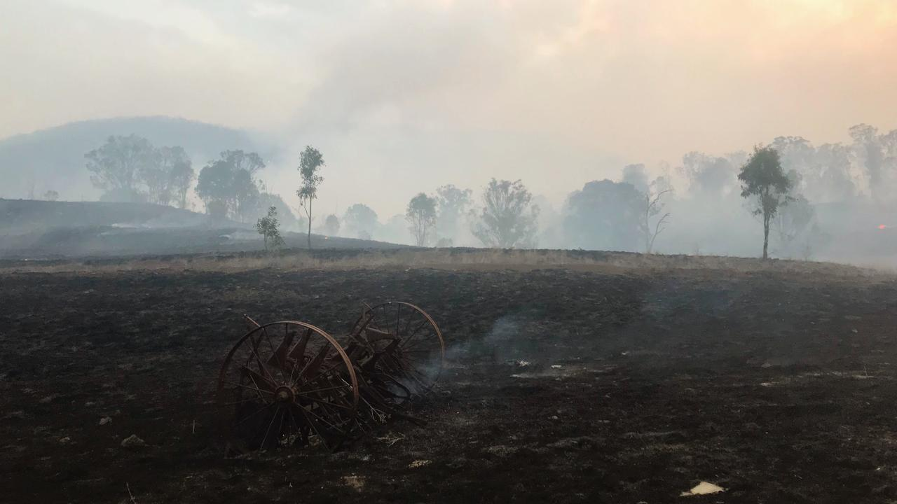 BURNED OUT: Julie Unwin's family farmland in Swanfels after fire.