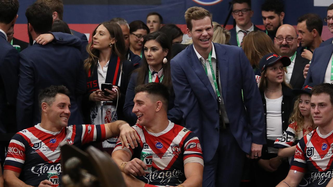 Australian cricketer Steve Smith in the Roosters shed after the grand final win. Picture: Brett Costello