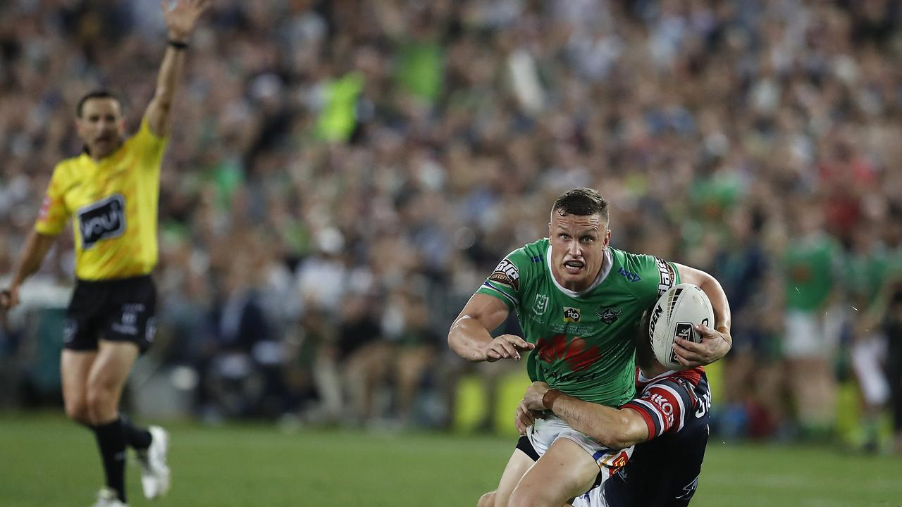 SYDNEY, AUSTRALIA - OCTOBER 06: Jack Wighton of the Raiders is tackled as Referee Gerard Sutton signals last tackle during the 2019 NRL Grand Final match between the Canberra Raiders and the Sydney Roosters at ANZ Stadium on October 06, 2019 in Sydney, Australia. (Photo by Ryan Pierse/Getty Images)