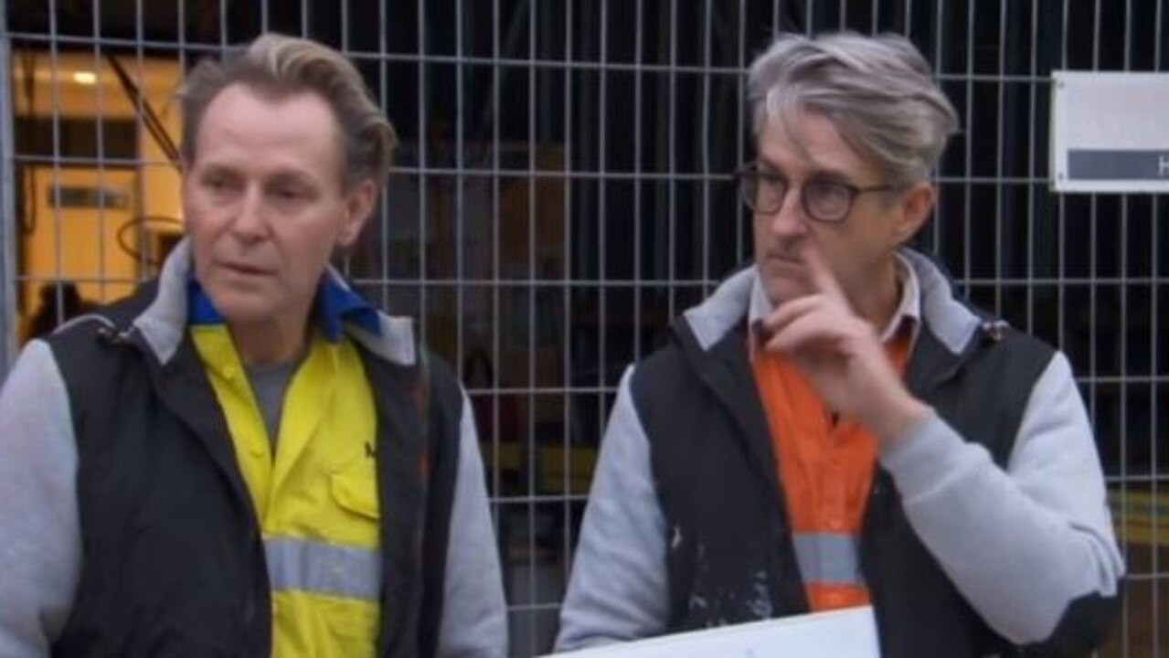 The Block Mitch and Mark at tonight's body corporate. Picture: Channel 9