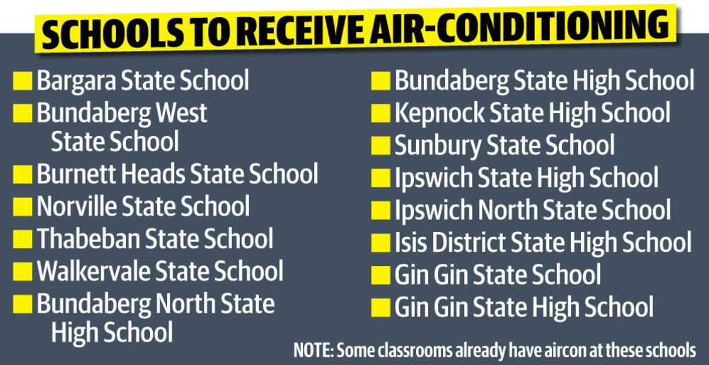 The first 15 Queensland state schools to receive airconditioning as part of the $100 million program.