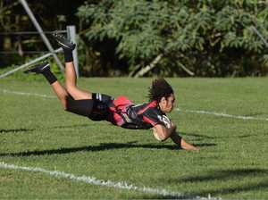 Sawtell Panthers winger Kalani Morris scores a try on